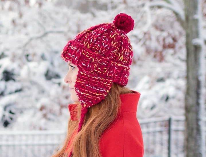 женская шапка ушанка спицами