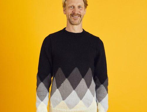 мужской свитер интарсия ромбы