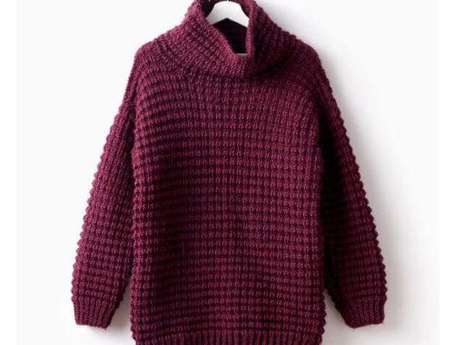 пуловер текстурным узором