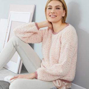 вязаный свитер сетчатым узором