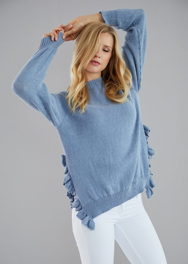 пуловер с разрезами и рюшами