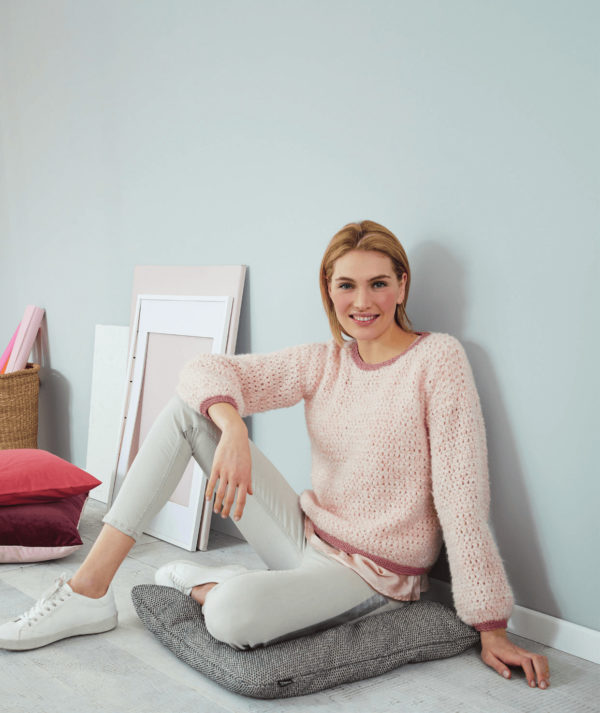 вязаный свитер сетчатым узором-2