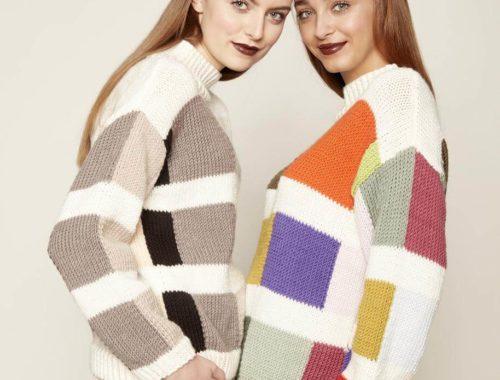 вязаный свитер с узором квадраты