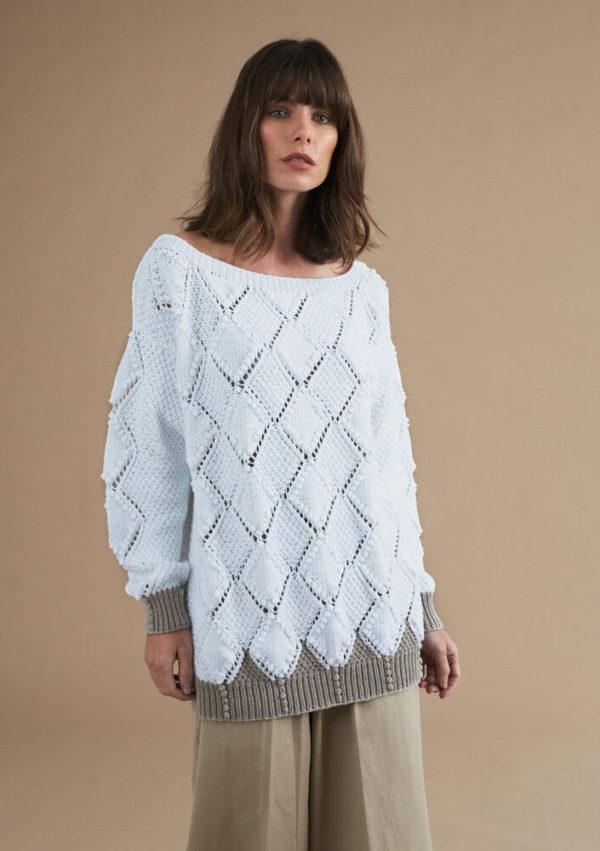 свитер с узором ромбы-1