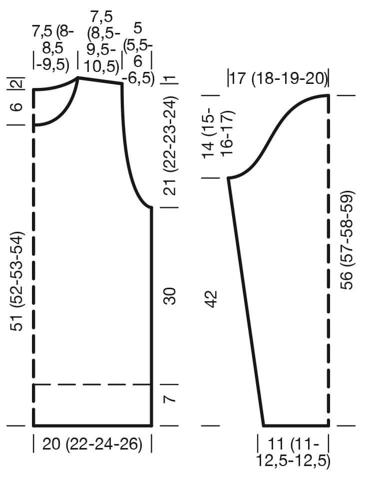 схема ажурного джемпера с рюшами