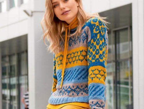 женский яркий свитер жаккардом