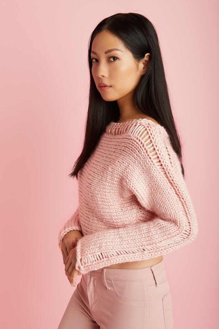 пуловер для начинающих укороченный