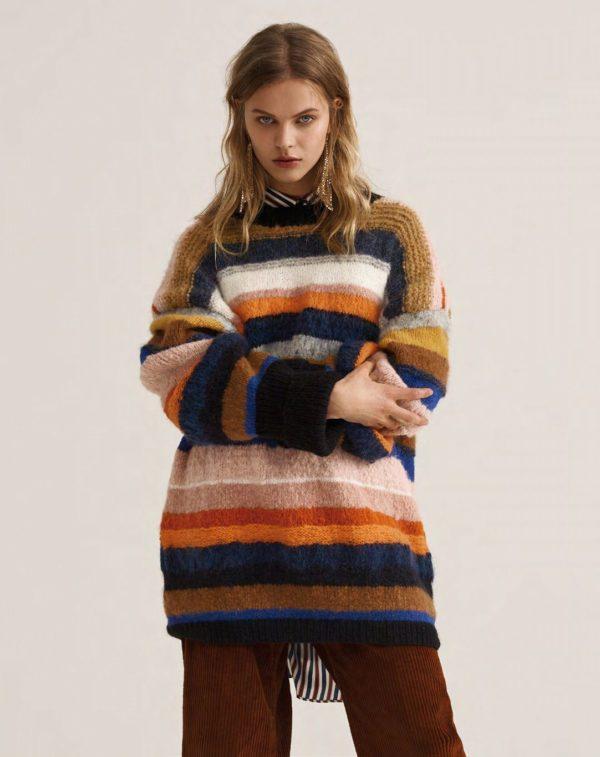 свитер полосатый спицами