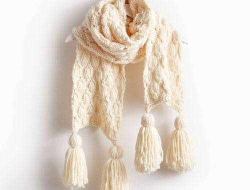 модный вязаный шарф длинный