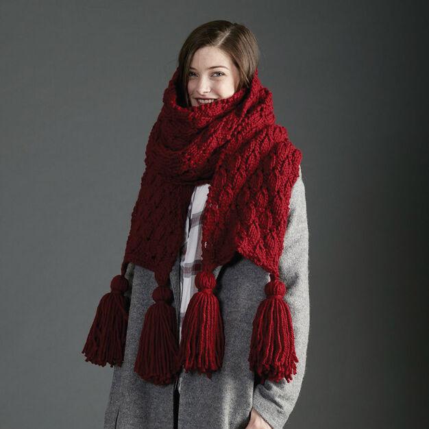 модный длинный шарф спицами