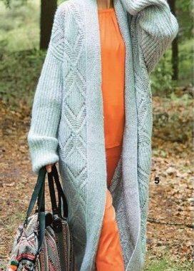модное женское пальто спицами