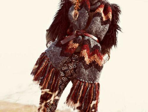 модный шарф с восточным узором спицами