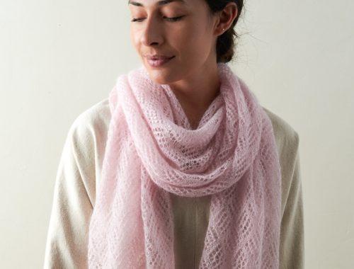 кружевной шарф из мохера спицами